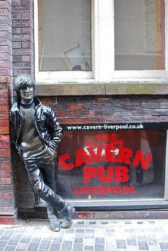 """John Lennon Statue"" , by Arthur Dooley , bronze , Mathew Street, Liverpool John Lennon, Liverpool Home, Liverpool England, George Harrison, Paul Mccartney, The Beatles, Garden Statues For Sale, Hippie Man, The Fab Four"