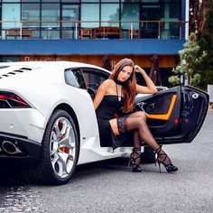 Lamborghini Pic by: _____________________. Trucks And Girls, Car Girls, Sexy Cars, Hot Cars, Lamborghini, Porsche, Audi, Car Poses, Great Legs