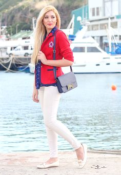 Preppy nautical red and navy ootd fashion