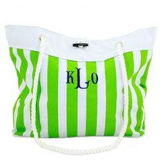 Nautical Stripes are IN!  Monogrammed Nautical Stripe Totes from Heartstrings are the perfect size to carry to the beach or pool this summer!  Personalize yours with your choice of monogram styles and colors.