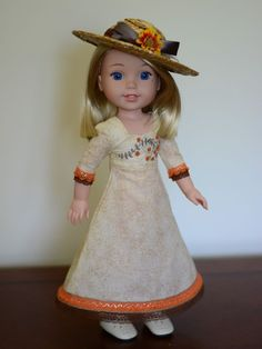 """""""Edwardian Autumn"""" Dress, Outfit, Clothes for 14.5"""" American Girl Wellie Wishers #LuminariaDesigns"""
