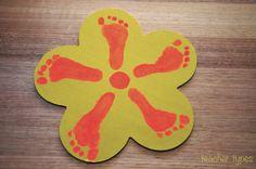 Baby & Toddler Art, baby footprint flower, mother's day present teachertypes.blogspot.com.au