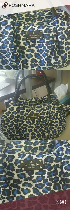 Kate Spade blue leopard bag Used twice..blue leopard..very roomy kate spade Bags Satchels