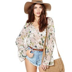 RICHCOCO Summer Style Rose Pattern Printing Women's Shirts Spring autumn Loose Sexy V-neck Flare Sleeved Chiffon Blouses D646