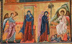 Coppo di Marcovaldo (attribuita) - Annunciazione e Pie donne al sepolcro, dettaglio da Madonna col Bambino - dipinto-reliquiario - 1250-60 - chiesa di Santa Maria Maggiore di Firenze.Madonna di sm. maggiore, jpg
