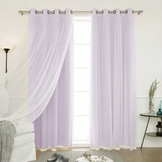 Shop for Aurora Home Mix & Match Blackout Tulle Lace Bronze Grommet 4 Piece Curtain Panel Set. Get free delivery On EVERYTHING* Overstock - Your Online Home Decor Outlet Store! Decor, Layered Curtains, Curtains For Sale, Custom Drapes, Home, Panel Curtains, House Styles, White Curtains, Tulle Curtains