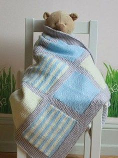 Knitting pattern for Noah Baby Blanket - inspiration for photographing butterfly and other baby blankets. Like this idea of wrapping a toy animal