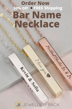 Our New 3D Personalized Custom Name vertical bar necklace is a perfect juxtaposition of classic and modern. Personalize this pendant with your choice of metal finish varying from bar necklace in gold, silver to rose gold, and with an inscription of your initial, name, custom messages, or custom coordinates to keep your memorable moments close to your heart. Sweet, meaningful, and timeless, this vertical bar necklace with engraving is our go-to gift for mom, grandma, wife, girlfriend, or… Jewelry Rack, Etsy Jewelry, Gold Jewelry, Women Jewelry, Seashell Jewelry, Jewelry Sets, Jewelry Accessories, Jewelry Necklaces, Bracelets