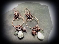 Czech dangling copper hoop earrings