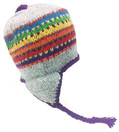 Nepal Hand Knit Sherpa Hat with Ear Flaps