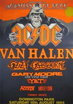 My first gig in AC/DC, Van Halen, Ozzy Osbourne, Gary Moore and Motley Crue. El Rock And Roll, Rock And Roll Bands, Tour Posters, Band Posters, Event Posters, Film Posters, Ac Dc, Hard Rock, Gary Moore