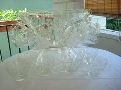 Vintage Anchor Hocking Clear Grape Glass Punch Bowl Set
