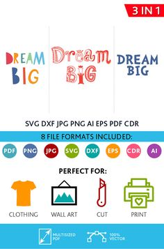 Dream Big SVG Cut Files Wall Art Quote Printable Art Decor Bedroom Living room Art Printable Poster (Svg Dxf Cdr Eps Ai Jpg Pdf Png)