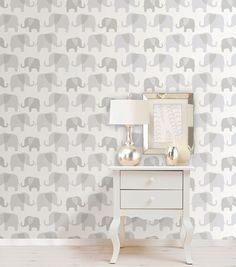 WallPops®NuWallpaper™ Gray Elephant Parade Peel And Stick Wallpapernull