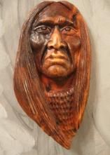 Wood spirit carvings, Indian carvings by Gordon Raistrick