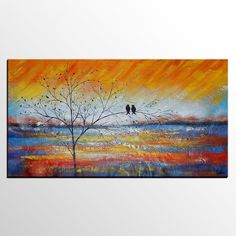 Check out our large wall art birds selection for the very best in unique or custom, handmade pieces from our shops. Love Birds Painting, Hand Painting Art, Large Painting, Painting Canvas, Colorful Paintings, Acrylic Paintings, Acrylic Art, Oil Paintings, Watercolor Paintings