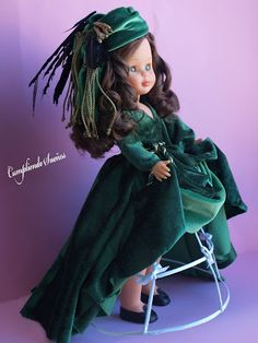 """Nancy as Scarlet O'Hara in her """"portieres"""" {curtains} green velvet gown Ag Dolls, Reborn Dolls, Antique Dolls, Vintage Dolls, Nancy Doll, Barbie, Velvet Gown, Hello Dolly, Green Velvet"""