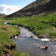"""Not all of the best #geothermal bathing in #Iceland is at #pools! A hike up to #Reykjadalur (""""Smoky Valley"""") from #Hveragerði brings you to this hot river. #hiddengem #icelandsecret #hotsprings #river #valley #nature #naturebaths #hiking #outdoors #summer #green #nordicvisitor"""