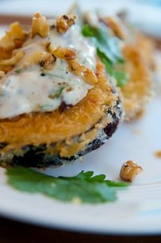 Breaded Eggplant w/ Spicy Walnut Yogurt Sauce   #vegan #recipe via Vegalicious!