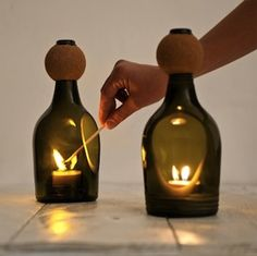Glass Bottle Tea Light Holder by Lucirmás. By using a Diamond Slitting disc, create holes in your bottles to hold candles and tea lights in....