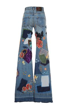 Patchwork Embroidered Medium Wash Jeans by ROBERTO CAVALLI for Preorder on Moda Operandi