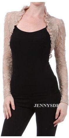 NEW Women Prom Formal Semi Sheer Lace Long Sleeve Shrug Bolero Short Jacket S 3X | eBay