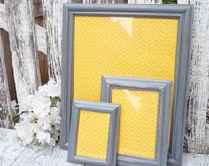 Gray Picture Frames - Set of 3 Painted Shabby Chic Frames Set