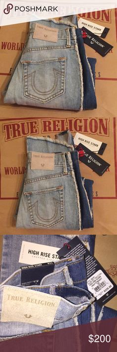 67ab8087254e5 NWT True Religion High Rise Starr Cropped Straight NWT True Religion High  Rise Starr Cropped Straight
