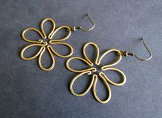 Flowers Wire Wrapped Brass Earrings by Hvitolg on Etsy