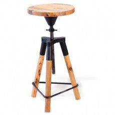 Rustic elegance meets convenience in this versatile piece. Perfect for adding stylish seating to counters or home bars, this stool adjusts in height and adds an element of vintage flair to décor. Objet Deco Design, Black Stool, Industrial Style Lighting, Urban Industrial, Industrial Design, Metal Stool, Wood Stool, Adjustable Stool, Antique Farmhouse