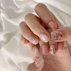 Korean Nail Art, Korean Nails, Trendy Nails, Cute Nails, Art Deco Nails, Asian Nails, Nail Art Pictures, Gelish Nails, Luxury Nails