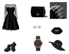 """""""Black"""" by laura-estrada-costa on Polyvore featuring Marc by Marc Jacobs, T.U.K., Chanel, Marc Jacobs, Lime Crime and Topshop"""