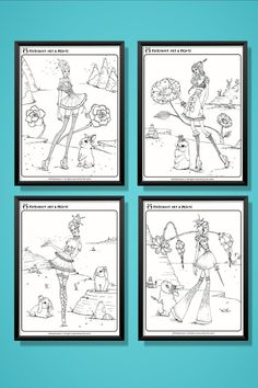 I created these coloring pages for you in hopes of bringing you with me on the quest of staying a child forever... You can use my art as inspiration OR use completely different color palettes. The possibilities are limitless! Please share your final creation with me and I will give a shout-out on social media! Boggle, Shout Out, Different Colors, Coloring Pages, Whimsical, Original Art, Gallery Wall, Social Media, In This Moment