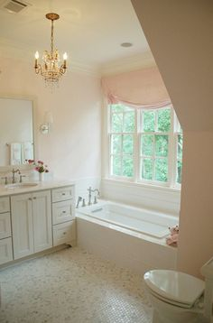 white marble bathroom chandelier blush pink. So cute for the girls.