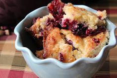 Mix and Match Mama: Rustic Cobbler      Picked some berries and needed a quick desert to bring to family. I didn't have an 8x8 so I used 9x9 pan. It made it a little chewy on top which was very good.
