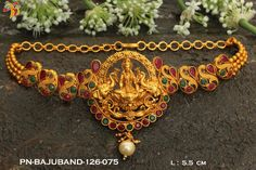 Beautiful arm band with lakshmi devi motif. Baju bandi with swimming swan design. Arm band studded with multi color stones. Gold Choker Necklace, Earrings, Hand Jewelry, Jewelery, Crochet Necklace, Arms, Chokers, Band, Chain