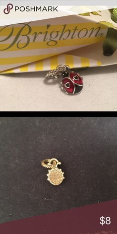 """🐞Brighton Ladybug Charm 🐞 ABC Ladybug Charm  🐞Enamel finish  🐞Hearts instead of spots 🐞Silver plated 🐞3/8"""" W by 5/8"""" H 🐞Like new condition   See design ideas in last photo.   **More Brighton beads, charms and jewelry in closet, including items in last photo. Add 2 or more listings to a Bundle and save 20% on all of them, plus pay only one shipping fee!** Brighton Jewelry"""