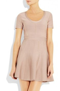 """$165.00This banded, formfitting dress features a scoop neck and a circle skirt. Hidden back zip. Short sleeves.  * 33"""" long, measured from shoulder. * Fabrication: Ribbed mid-weight jersey. * 90% rayon/9% nylon/1% spandex. * Dry clean. * Imported."""