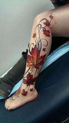 Canadian pride tattoo or fall leaves and simple vines tattoo - 40 Unforgettable Fall Tattoos Tattoos Bein, Vine Tattoos, Leg Tattoos, Body Art Tattoos, Tattoo Thigh, Fall Leaves Tattoo, Autumn Tattoo, Trendy Tattoos, Tattoos For Women