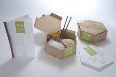 Eco-Friendly Chinese Take-away (Joann Arello, 2011): A design inspired by Chinese hexagonal formed stacking lunch boxes.