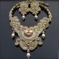 Купить МОЦАРТ-свадебный комплект - золотой, невеста, свадебное украшение, свадебное колье, свадебные аксессуары