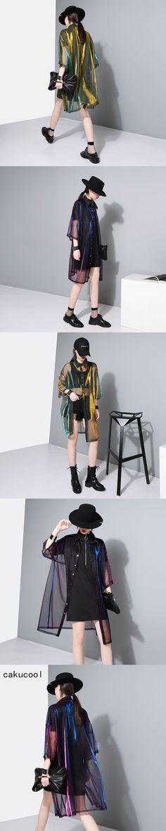 Cakucool Women Mesh Jacket Summer Transparent Jackets Casual Half Sleeve Two-tone Sun-proof Ladies Thin Outerwear Rash Guards