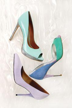 Women's Fashion: Sugar Rush  (Rachel Roy's peep- toe pump with iridescent heel, Guess' color-block d'Orsay and Isaac Mizrahi's linen pointy-toe pump.)