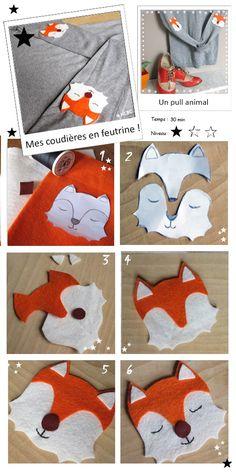 DIY La customisation d'un pull grâce à un tuto renard. (http://hautchicbaschoc.com/diy-je-cree-des-coudieres-et-je-customise-mon-pull/)