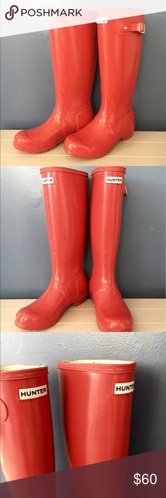 Classic HUNTER rain boots 🌟 Cherry red HUNTER RAIN BOOTS! In great condition with the exception of the buckled which are broken. Hunter is known for their great quality! Definitely a wardrobe staple. Fits me perfect and I'm a size 7 Hunter Boots Shoes Winter & Rain Boots