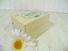 Retro Susan Shaw's Recipe Treasure Box - Vintage Stop & Shop Blue on White Painted Metal Box - Mid Century Iconic New England File Organizer $12.00 by DivineOrders