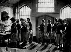 Pictured: Women lining up for food, although many inmates complained about its standards Thing 1, County Jail, True Crime, Line Drawing, Scarlet, Ivy, Britain