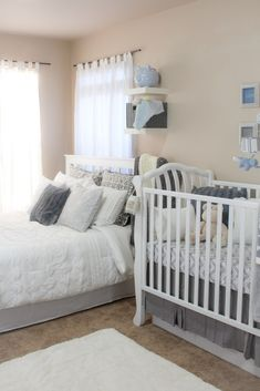 Shared room ideas for baby and parents baby nursery in parents bedroom shared room ideas for Shared Baby Rooms, Shared Bedrooms, Baby Bedroom, One Bedroom, Kids Bedroom, Nursery Nook, Chic Nursery, Project Nursery, Room Decor For Teen Girls