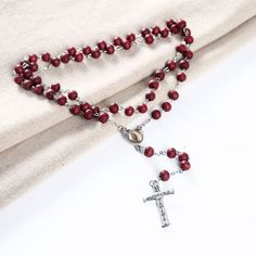 Rosary - Prayer Beads with Metal Cross Necklace Necklace Colour - Red Rosary Prayer, Prayer Beads, Jewelry Accessories, Beaded Bracelets, Faith, Jewellery, Retro, Women, Style