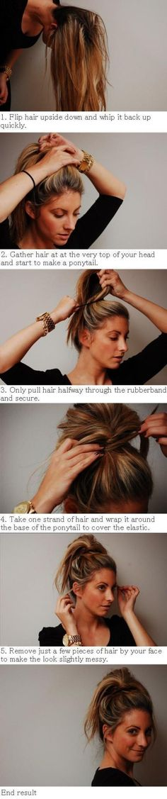 How to Style Messy Bun-Ponytail Hybrid,This is like, the best hairstyle for the gym. You dont want your ponytail whipping around at you while - See more at Summer Hairstyles, Pretty Hairstyles, Diy Hairstyles, Creative Hairstyles, Ponytail Hairstyles, Easy Messy Hairstyles, Stylish Hairstyles, Easy Hairstyle, Style Hairstyle